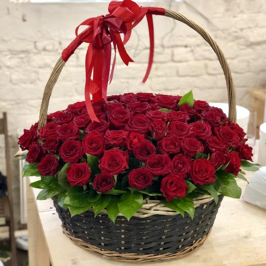 Basket of 101 red roses