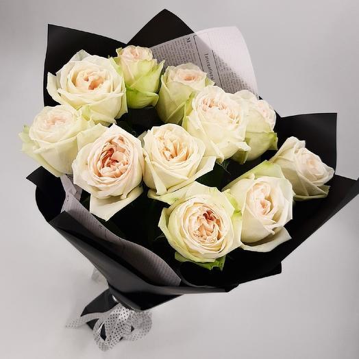 Черно-белое кино: 11 пионовидных роз: букеты цветов на заказ Flowwow