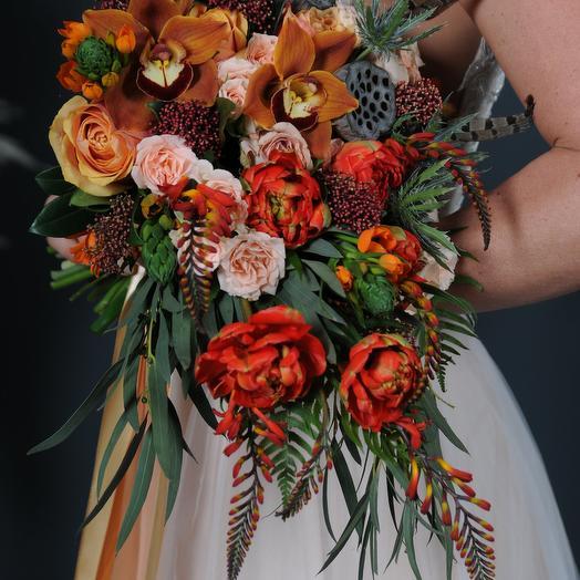Яркий эксклюзивный свадебный букет: букеты цветов на заказ Flowwow