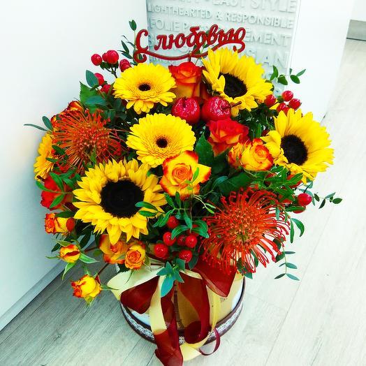 Осень в шляпной коробке: букеты цветов на заказ Flowwow