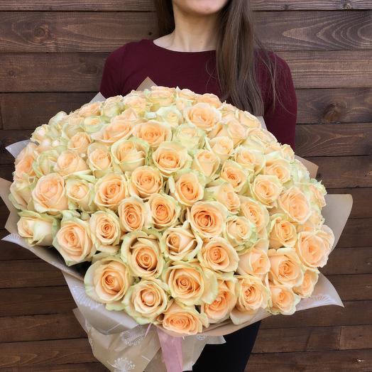 Букет 101 кремовая роза: букеты цветов на заказ Flowwow