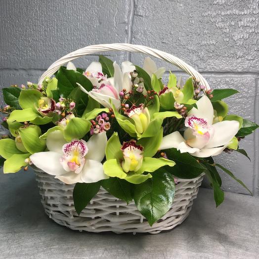 Корзинка Орхид: букеты цветов на заказ Flowwow