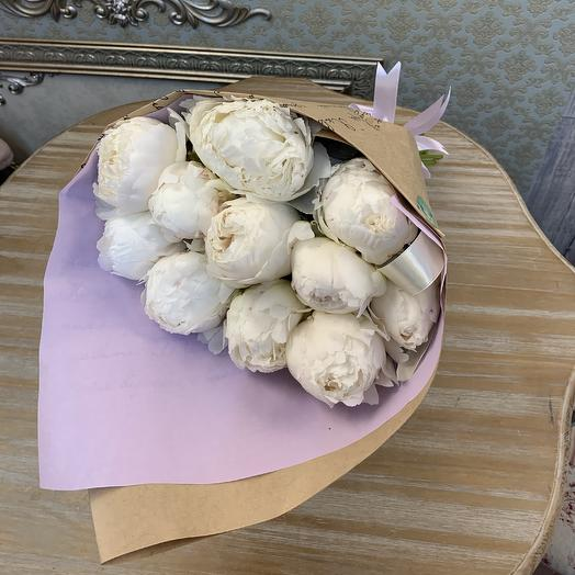 Пионы белые 11 штук: букеты цветов на заказ Flowwow