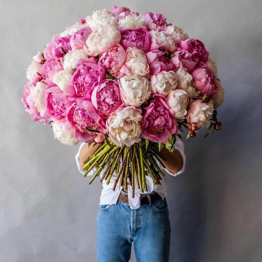 Микс из 75 пионов: букеты цветов на заказ Flowwow
