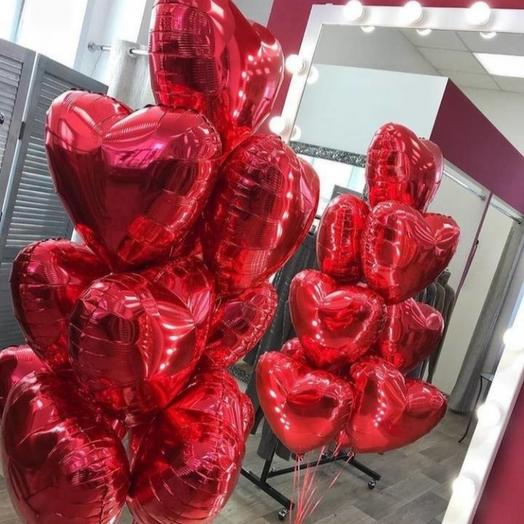 9 сердец фольгированных
