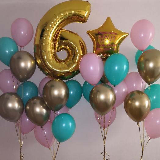 Гелиевые шары набор с цифрой 6