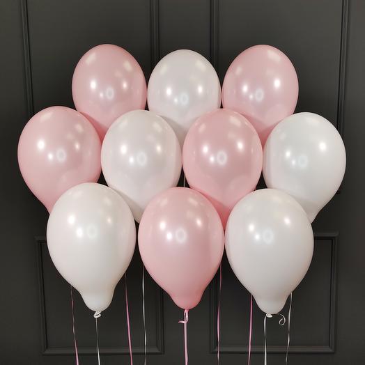 Воздушные бело-розовые шарики 25 шт