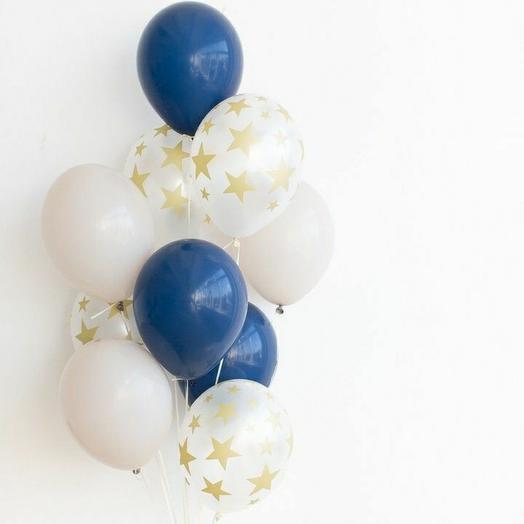 """Связка воздушных шаров""""белый-синий-со звёздами"""""""