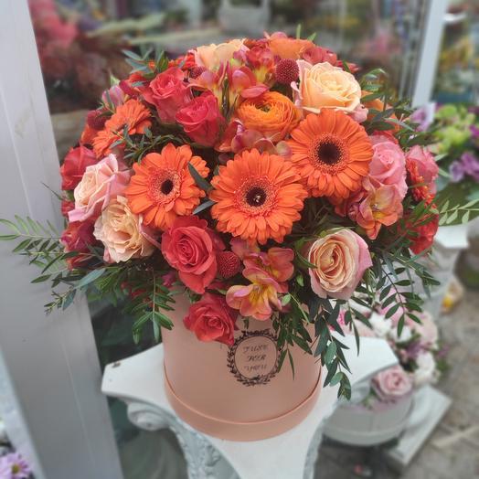 Большая коробка с цветами Мандаринка