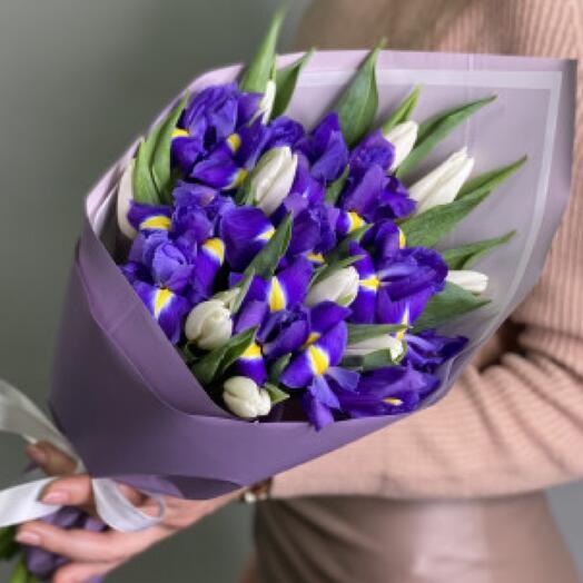 Букет «Ирис с тюльпанами»