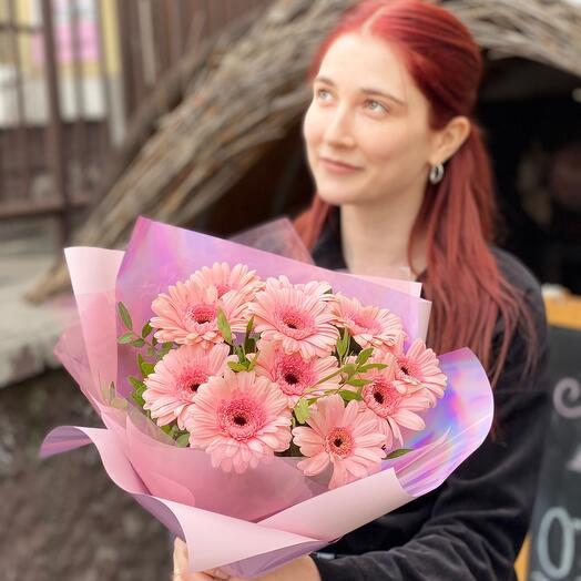 Розовые ромашки