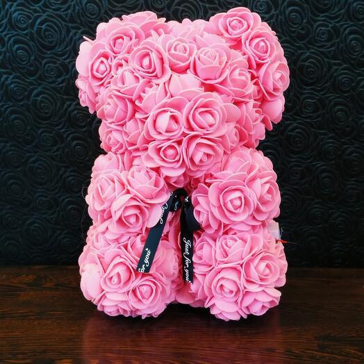 Мишка из роз светящийся розовый