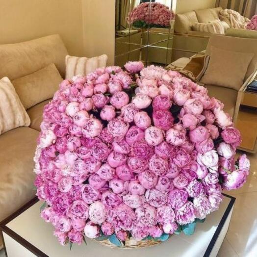 251 розовый пион в корзине