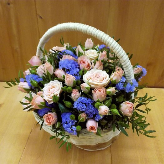 Васильковый рассвет (Корзина 289): букеты цветов на заказ Flowwow