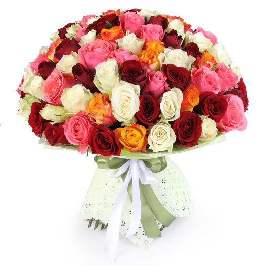 "Букет из 101 розы микс ""Салют"": букеты цветов на заказ Flowwow"