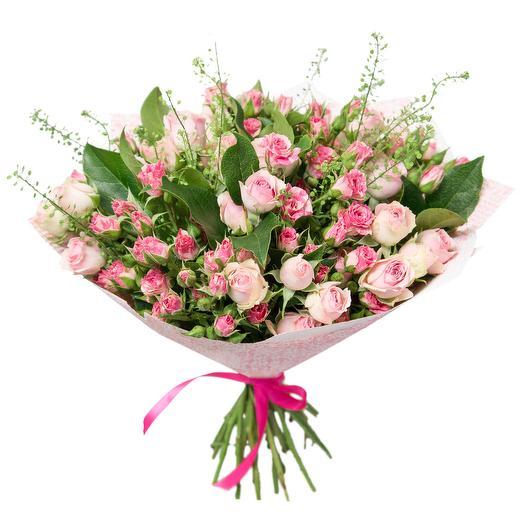 """Букет с кустовыми розами """"Клубничная пастила"""": букеты цветов на заказ Flowwow"""