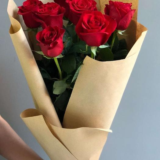 """Букет из 7 красных роз """"Алиса"""": букеты цветов на заказ Flowwow"""