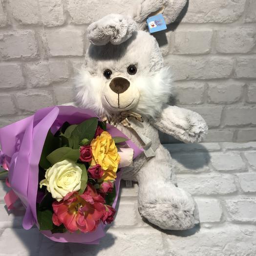 Подарочный набор с зайкой ️: букеты цветов на заказ Flowwow