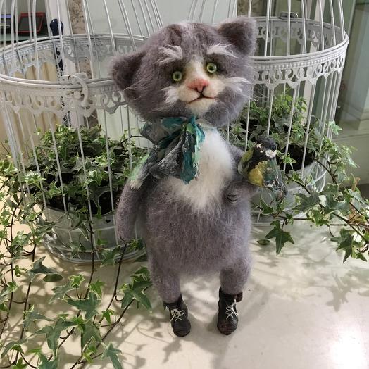 Кот с синичкой: букеты цветов на заказ Flowwow
