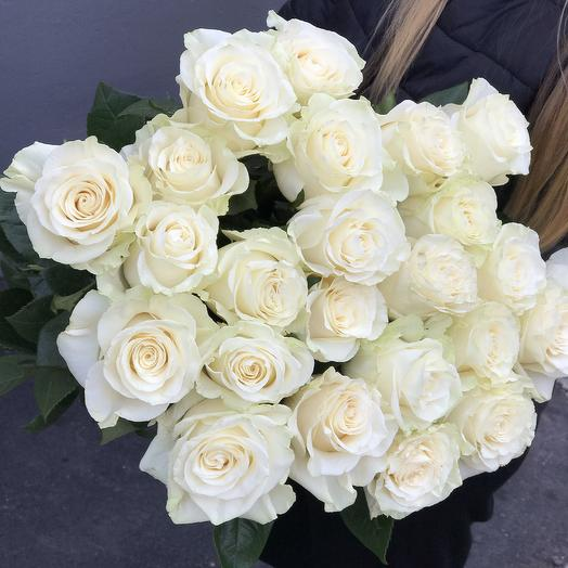 Белая роза мондиаль 80см- 23шт: букеты цветов на заказ Flowwow