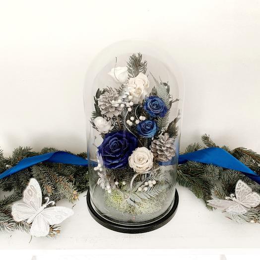 """Новогодняя композиция """"Синий-синий Иней"""": букеты цветов на заказ Flowwow"""