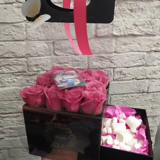 Стильная коробочка на День Влюблённых: букеты цветов на заказ Flowwow