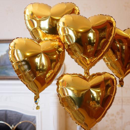 Шар сердце ЗОЛОТО фольга с гелием 5 шт