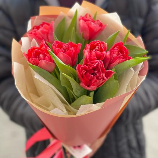 Bouquet of 7 peony-shaped tulips