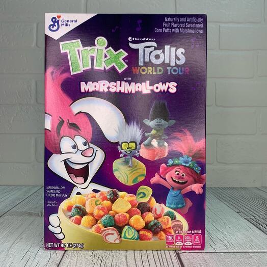 Трикс Тролли готовый завтрак цветные шарики с маршмеллоу