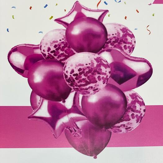 Шары розовые гелий Сет  14