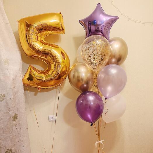 Фонтан из шаров и цифра «Золото»