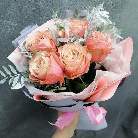 5 пионовидных роз Kahala