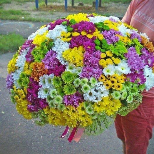 Букет из 101 разноцветной хризантемы кустовой: букеты цветов на заказ Flowwow