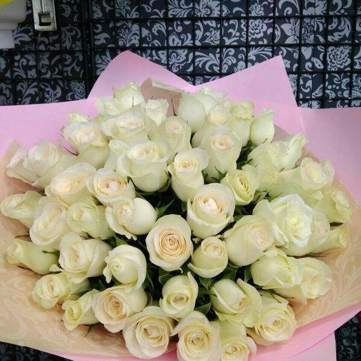 Букет из 45 белоснежных роз: букеты цветов на заказ Flowwow