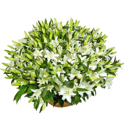 Корзина шикарных белых крупных лилий: букеты цветов на заказ Flowwow