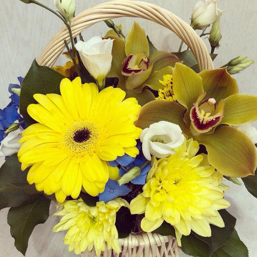 Корзина с орхидеями и ирисами: букеты цветов на заказ Flowwow