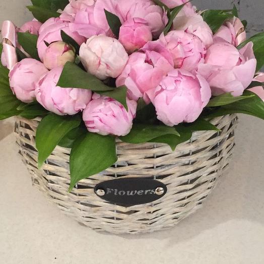 Корзиночка с 25 пионами Сара бернар: букеты цветов на заказ Flowwow