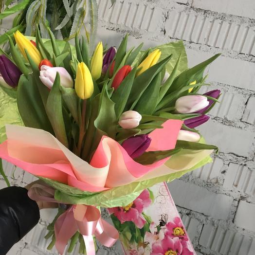 Букет Радужный тюльпан: букеты цветов на заказ Flowwow