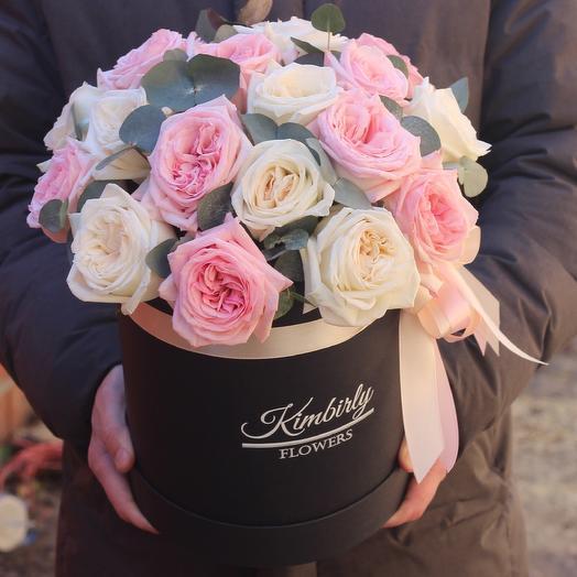 Французские розы в коробке: букеты цветов на заказ Flowwow
