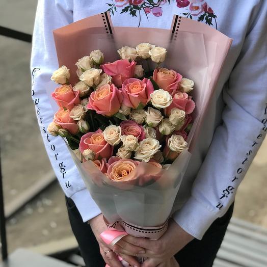Розы. Букет микс. N409: букеты цветов на заказ Flowwow
