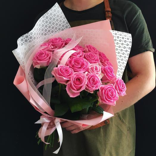 Розовые розы -19 шт
