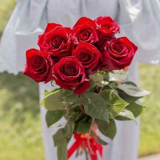 7 красных роз 50 см: букеты цветов на заказ Flowwow