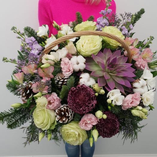 "Шикарная корзина цветов ""Winter"": букеты цветов на заказ Flowwow"