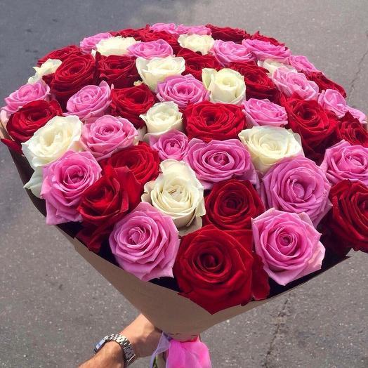 51 Роза в крафте 70 см