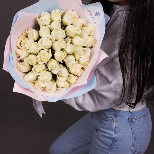35 белых роз, премиум
