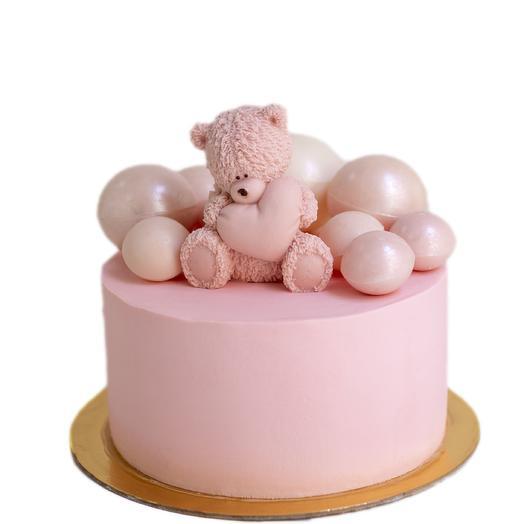 """Торт с шоколадной фигуркой """"Мишка с сердцем"""": букеты цветов на заказ Flowwow"""
