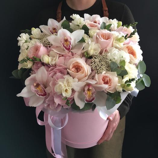 Коробочка микс с орхидеями: букеты цветов на заказ Flowwow