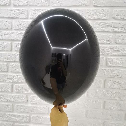 2 Черный Гелиевый шар пастель 30см с обработкой