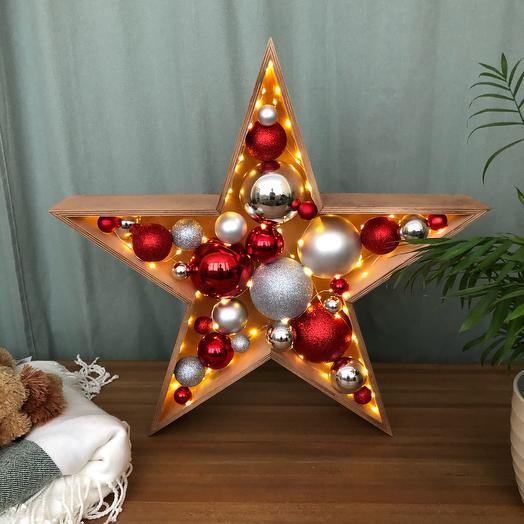 Новогодняя звезда ⭐️ средняя красная серебряная темный дуб