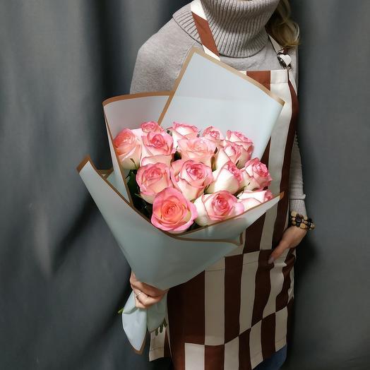 """Букет""""15 розовых роз"""""""